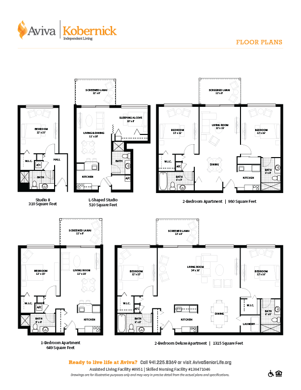 A layout for different apartments located in Kobernick