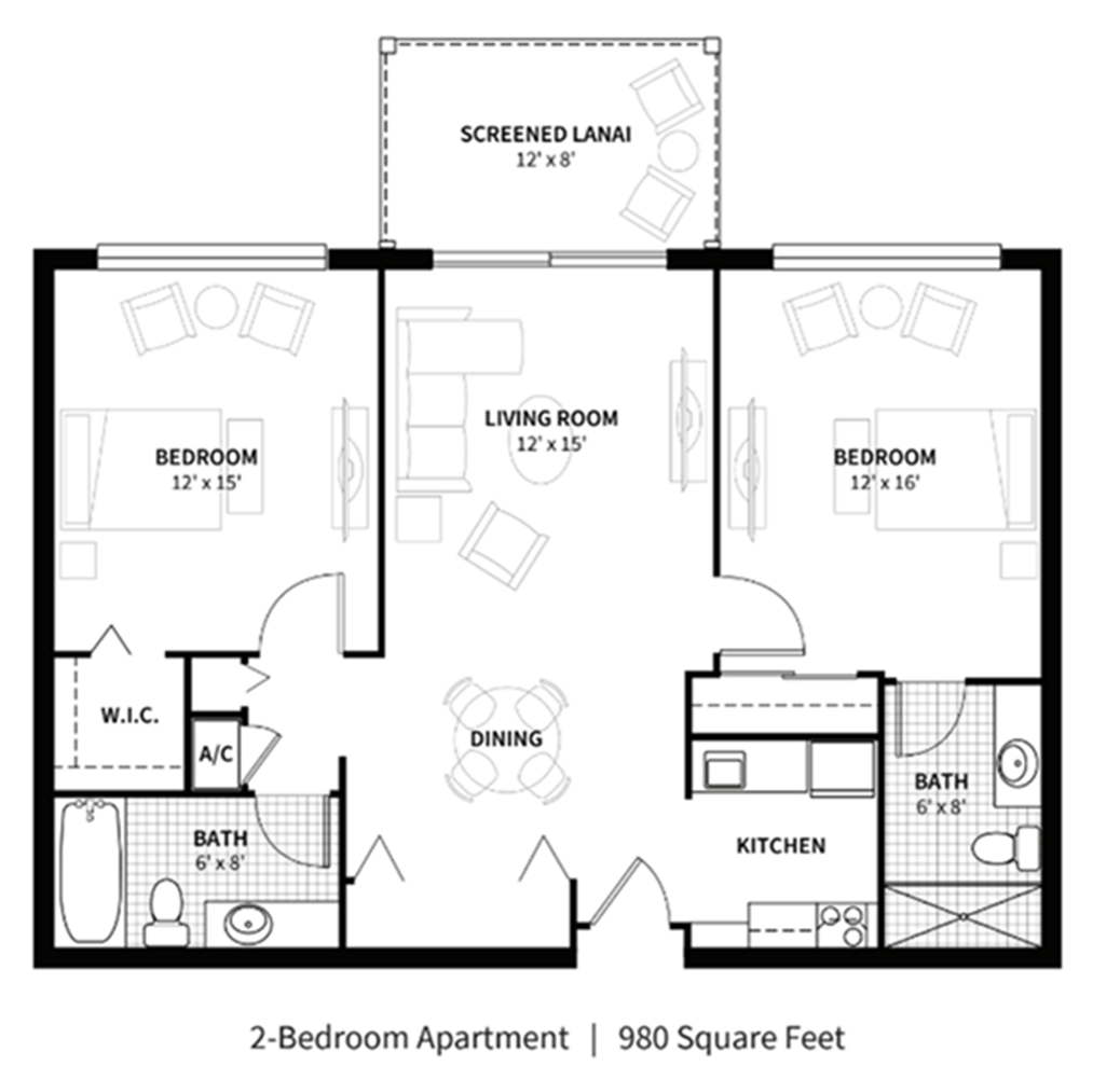 A layout for a 2 bedroom apartment at Aviva